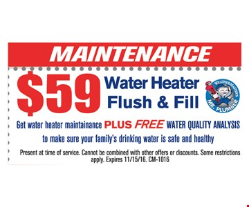 $59 water heater flush and fill