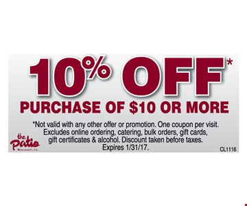 10% off purchase of $10 or more