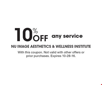 10% Off any service. With this coupon. Not valid with other offers or prior purchases. Expires 10-28-16.