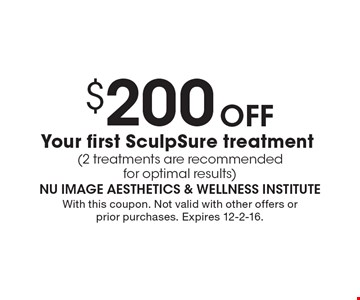 $200 Off Your first SculpSure treatment (2 treatments are recommended for optimal results). With this coupon. Not valid with other offers or prior purchases. Expires 12-2-16.