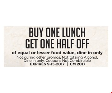 Buy One Lunch Get One Half Off