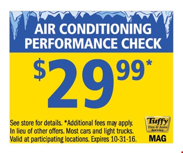 $29.99 air conditioning performance check