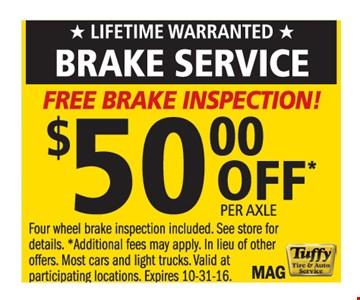 Brake Service, $50 off per axle