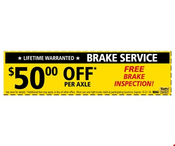 Break Service $50 Off Per Axle  - Free Brake Inspection