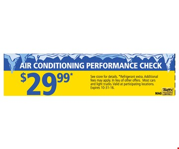 Air Conditioning Performance Check  $29.99