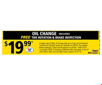 $19.99 Oil Change includes Free Tire rotation & Brake inspection