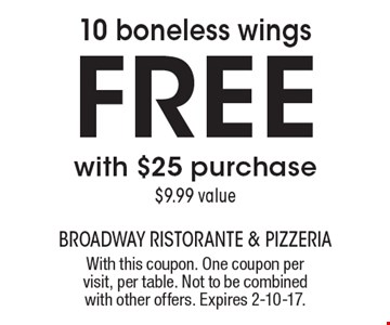 10 boneless wings free with $25 purchase. $9.99 value. With this coupon. One coupon per visit, per table. Not to be combined with other offers. Expires 2-10-17.