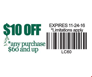 $10 off any purchase $60 and up