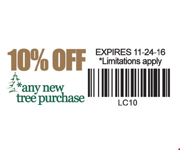 10% off any new tree purchase