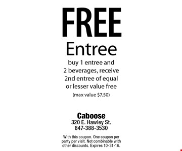 Free Entree buy 1 entree and 2 beverages, receive 2nd entree of equal or lesser value free (max value $7.50). With this coupon. One coupon per party per visit. Not combinable with other discounts. Expires 10-31-16.
