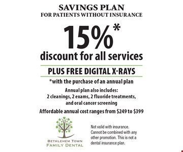 Savings Plan for patientS without insurance. 15% discount for all services PLUS Free digital x-rays with the purchase of an annual plan. Annual plan also includes: 2 cleanings, 2 exams, 2 fluoride treatments, and oral cancer screening. Affordable annual cost ranges from $249 to $399. Not valid with insurance. Cannot be combined with any other promotion. This is not a dental insurance plan.