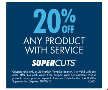 20% Off Any Product With Service