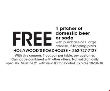 Free 1 pitcher of domestic beer or soda with purchase of 1 large cheese, 2-topping pizza. With this coupon. 1 coupon per table, per customer. Cannot be combined with other offers. Not valid on daily specials. Must be 21 with valid ID for alcohol. Expires 10-28-16.