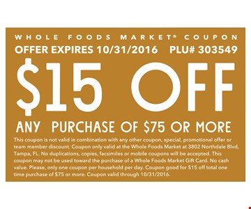 $15 OFF ANY PURCHASE