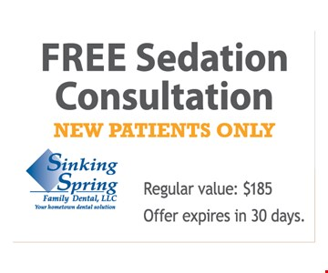 Free sedation consultation. New patients only. Regular value: $185. Offer expires in 30 days.