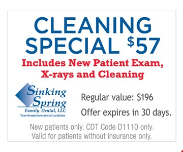 Cleaning special for $57.