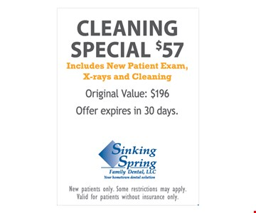Cleaning Special $57 Includes New Patient Exam, X-rays and Cleaning