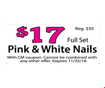 Pink & white nails for $17