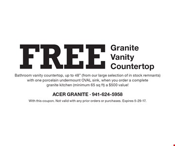 FREE Granite Vanity Countertop. Bathroom vanity countertop, up to 48