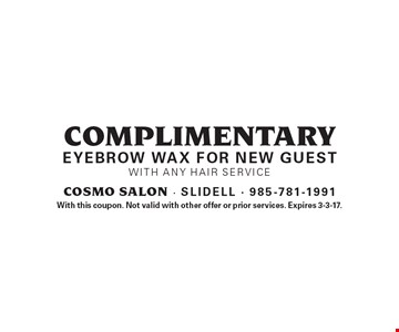 Complimentary eyebrow wax for new guest with any hair service. With this coupon. Not valid with other offer or prior services. Expires 3-3-17.
