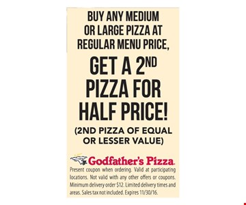 Get a 2nd Pizza for Half Price