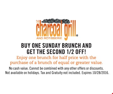 Half off Sunday brunch with purchase.