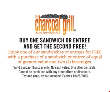 Free sandwich or entree with purchase.