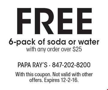 FREE 6-pack of soda or water with any order over $25. With this coupon. Not valid with other offers. Expires 12-2-16.