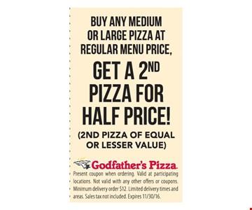 1/2 price pizza