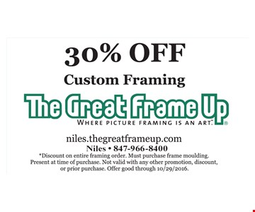 30% Off Custom Framing