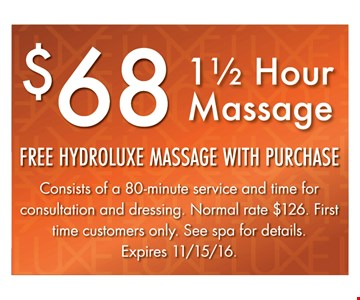 1/2 hour Massage for $68