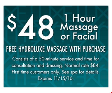 1 hour Massage or facial for $48