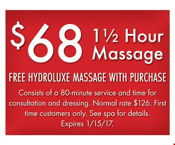 90 minute massage for $68.