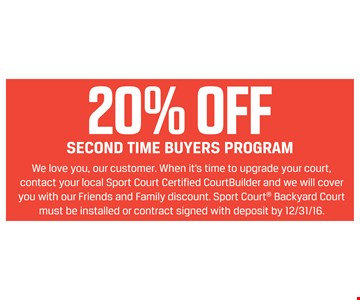 20% off second time buyers program