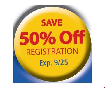 50% Off Registration. Exp. 9/25/17.