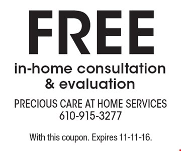 Free in-home consultation & evaluation. With this coupon. Expires 11-11-16.