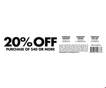 20% off purchase of $40 or more