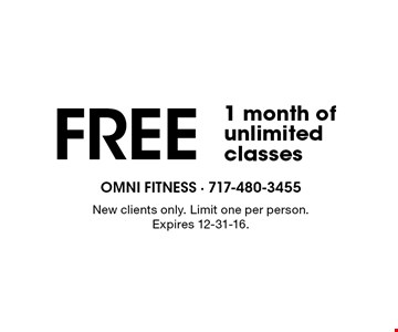 FREE 1 month of unlimited classes. New clients only. Limit one per person. Expires 12-31-16.
