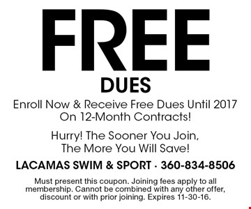 FREE DUES: Enroll Now & Receive Free Dues Until 2017 On 12-Month Contracts! Hurry! The Sooner You Join, The More You Will Save! Must present this coupon. Joining fees apply to all membership. Cannot be combined with any other offer, discount or with prior joining. Expires 11-30-16.