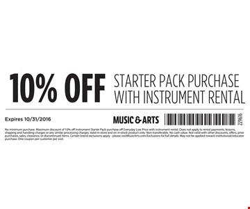10% Off Starter Pack Purchase wit Instrument Rental