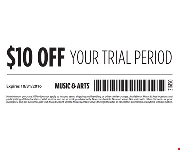 $10 Off Your Trial Period