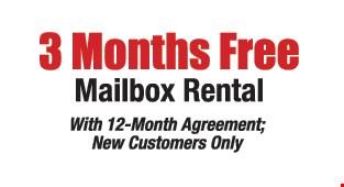 3 Months free mailbox rental