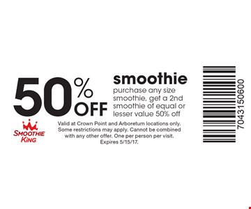50% Off smoothie purchase any size smoothie, get a 2nd smoothie of equal or lesser value 50% off. Valid at Crown Point and Arboretum locations only. Some restrictions may apply. Cannot be combined with any other offer. One per person per visit. Expires 5/15/17.