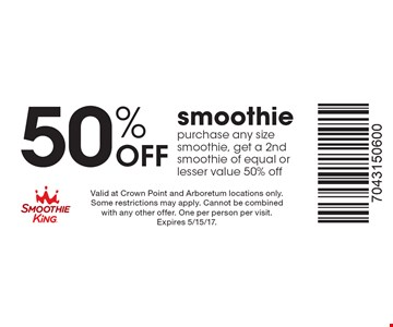 50% Off smoothie. Purchase any size smoothie, get a 2nd smoothie of equal or lesser value 50% off. Valid at Crown Point and Arboretum locations only. Some restrictions may apply. Cannot be combined with any other offer. One per person per visit. Expires 5/15/17.