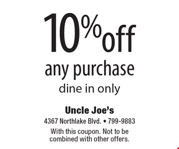 10% off any purchase. Dine in only. With this coupon. Not to be combined with other offers.