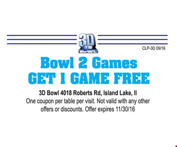 Free game of bowling with purchase.
