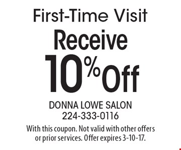 Receive 10% off first-time visit. With this coupon. Not valid with other offers or prior services. Offer expires 3-10-17.