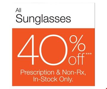 40% Off All Sunglasses