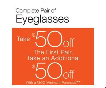 $50 Off Complete Pair Of Eyeglasses