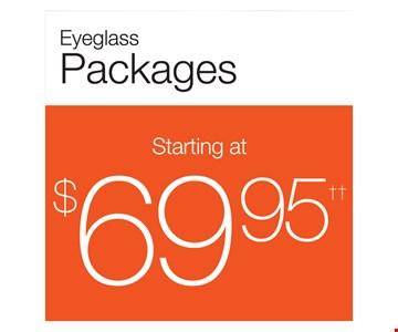 Eyeglass Packages $69.95